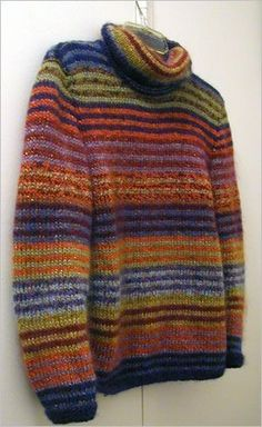 Caterpillar pattern by Kaffe Fassett Summary: Long, oversized multi-color striped, long-sleeved turtleneck pullover. Knitting Designs, Knitting Projects, Ropa Free People, Pull Jacquard, Pulls, Hand Knitting, Knitwear, Knitting Patterns, Knit Crochet