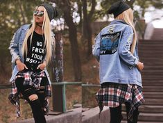 Get this look: http://lb.nu/look/7826858  More looks by Kristina Dolinskaya: http://lb.nu/kristina_doli  Items in this look:  Sheinside Ripped Denim Jacket, Black Ripped Knee Jeans, Beanie Hat, Choker, Plaid Shirt, Download Add The Yub Shop T Shirt Go F#Ck Your #Selfie, Zero Uv Round Sunglasses   #selfie #edgy #grunge #street