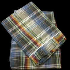 Plaid ( 100% Cotton Bed Sheet set with 2 sided frills and 2 Pillow cases with 4 sided frills in King and Queen sizes). by raziascloset on Opensky