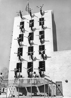 "Oct. 2, 1963: Probationary firemen participated in a drill described in The Times ""one of the biggest — but safest — 'fires' in town."""