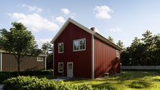 This is a simple Swedish style red house. Located next to the nature, this house can see all the forest of pine trees in the background. Contrasting the red color of the house to the woods at the back, I hope this house will impress you guys, Behancer. Swedish Style, Wooden House, Lawn, Grass, The Neighbourhood, Shed, Houses, Outdoor Structures, Simple