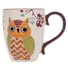 Orange & Brown Owl Ceramic Textured Mug