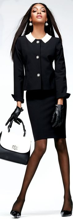 Madeleine fashion. Black 3-button jacket with white wide spread pointed flat collar and pencil skirt.