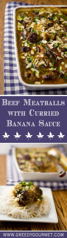 Beef Meatballs with Curried Banana Sauce - Deborah Guthrie - Beef Meatballs with Curried Banana Sauce Beef Meatballs with Curried Banana Sauce - an interesting spin on South African cuisine. Meat Recipes, Gourmet Recipes, Recipies, Dinner Recipes, Cooked Apples, Artisan Food, South African Recipes, English Food, International Recipes