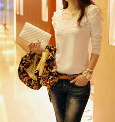 Solid Color Refreshing Style Long Sleeves Beaded Acrylic T-Shirt