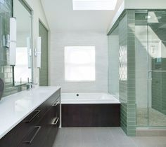 Imola Koshi 36CE Grey and the glass wall tile is Jeffrey Court Garden in a 3x6 (it's more green than