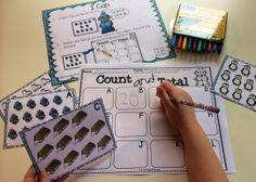 Winter themed math and literacy centers for Kindergarten. TONS of skills covered! Preschool Centers, Kindergarten Math Activities, Fun Math, Literacy Centers, Teaching Math, Math Stations, Montessori Math, Elementary Math, Kindergarten Classroom