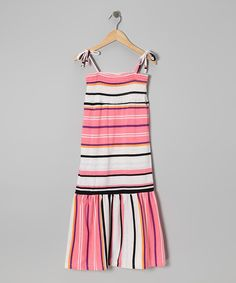 Take a look at this Longstreet Pink & White Stripe Convertible Dress - Girls on zulily today!