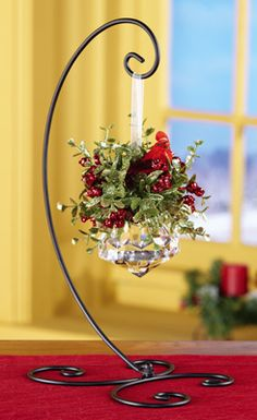 great but mistletoe berrys are white  Glitter Mistletoe Jewel Holiday Ornament with Stand