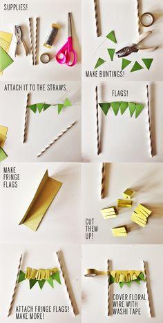 Paper Bunting Cake Topper DIY // take a megabite