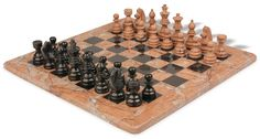 Black Marble Coral Stone Staunton Chess Set with 16 Board by The Chess Store ** Read more at the image link. Chess Store, Coral Stone, Black Marble, Board Games, Boards, Chess Sets, Canning, Image Link, Role Playing Board Games