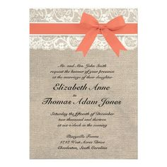 Ivory Lace Rustic Burlap Wedding Invitation- Coral @Brittany Harderson. what you think?