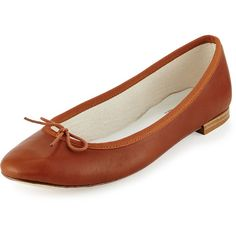 Repetto Cendrillon Leather Ballet Flat ($360) ❤ liked on Polyvore featuring shoes, flats, ballet flats, leather shoes, bow tie flats, ballerina flat shoes and cognac flats