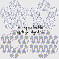free applique patterns to print Flower Applique Patterns, Bag Patterns To Sew, Embroidery Applique, Sewing Patterns, Applique Templates Free, Quilting Templates, Daisy, Free Pattern, Quilts