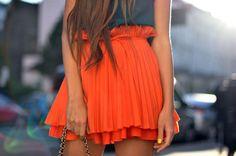 Brights!! Cute flouncy, pleated skirt!