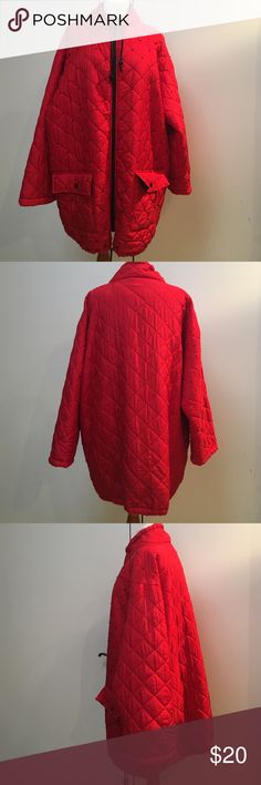 Coat, Red Quilted. Black beads on front. Cute light weight oversized Tunic coat.Falls between Hips and knees.Red quilted with black beads on front 2pockets.Drawstrings on neck and hem. Carol Little Jackets & Coats