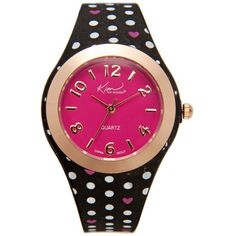 Kim Rogers Pink Black And Pink Polka Dot Silicone Watch - Women's ($15) ❤ liked on Polyvore featuring jewelry, watches, pink, heart jewelry, heart shaped watches, kim rogers, pink heart jewelry and silicon watches