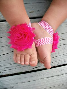 20OFF .. Baby Barefoot Sandals .. Hot Pink by LovelyLiliesBoutique, $6.50