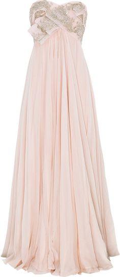 MARCHESA Strapless Silk-chiffon Gown