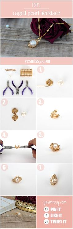DIY necklace - caged pearl necklace tutorial. You could do this with any crystal or stone.