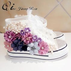 Flowers Cut Out Dirty Casual Shoes For Women Canvas Shoes High Top Summer Shoes Girls Female Flat Shoes Cute Womens Shoes, Cute Baby Shoes, Baby Girl Shoes, Girls Shoes, Ladies Shoes, Diy Fashion, Fashion Shoes, Wedding Sneakers, Flower Shoes