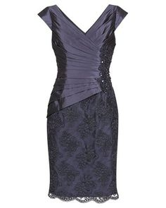 AMETHYST TAFFETA AND LACE DRESS - Style Number: 1AC9641