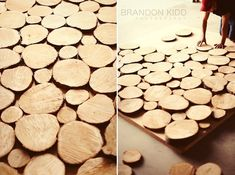 Very unique DIY backdrop made out of tree trunk slices! #rentmyphotobooth Photo via #BrandonKiddPhotography