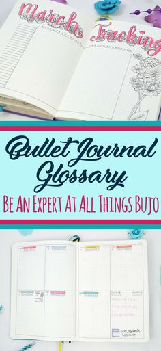 Bullet Journal Glossary- Learn everything you need to know about bullet journals! Learn the most common phrases and terminology so that you can learn how to start your bullet journal sounding like an expert! Bullet Journal For Beginners, Bullet Journal How To Start A, Bullet Journal Spread, Journal Layout, Journal Pages, Journals, Journal Ideas, Journal Prompts, Bullet Journel