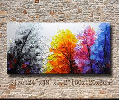 Original Abstract Painting, Modern Textured Painting,Impasto Landscape Textured Modern Palette Knife Painting,Painting on Canvas byChen Size: 24x48x1.2 [60x120x3cm] Stretched thickness: 1.2 (3cm ) Framed / Stretched ( Ready to hang! ) The sides are staple-free and are painted black. It is ready to hang .  Payment Details: we prefer paypal Do remember to leave your phone number in the note field  Shipment and Packing charge : By Air Mail Or EMS to world-wide Parcel will be shipped out wit...