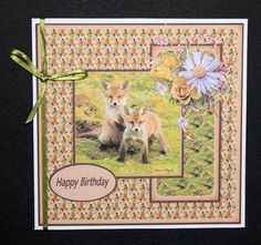 fox cubs at play  on Craftsuprint designed by Gail Collins - made by Marion Kimberley-Scott - Printed design sheet onto matte card and cut out the card topper. This was secured to the front of a white square card with DST and I finished off with some light green ribbon and matching insert (cup617843_695). An appropriate sentiment will be added later. A lovely design which is quick and easy to make and suitable for lots of different occasions.  - Now available for download!