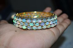 Exclusive and Beautiful Ethiopian Opal Cab with Single Cut Diamond in 92.5 Silver bracelet, on Etsy, $850.00