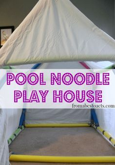 Using Pool Noodles to Build a Play House is part of Pool noodle crafts - Think pool noodles are just for the pool Well, think again! Building a pool noodle play house is a great way to spend a rainy day! Summer Activities, Toddler Activities, Rainy Day Kids Activities, Indoor Activities For Kids, Family Activities, Diy For Kids, Cool Kids, Kids Crafts, Summer Crafts
