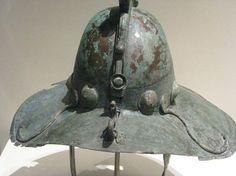 Roman gladiatorial helmet, 1st century A.D. Gladiatorial parade bronze helmet, from Pompei. Royal Ontario museum
