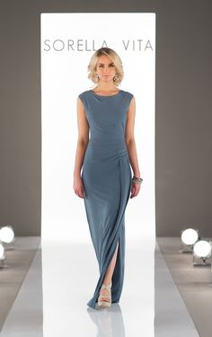 Featuring a sexysilhouette and cap sleeves, this Luxe Double Knit bridesmaid dress is soft and moveable – perfect for dancing the night away! Its chic, bateau neckline is accented with a small side slit and delicate ruching at the hip. Perfect for mixing and matching with other Luxe Double Knit styles!