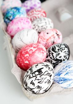 Decorating Eggs with white out, ink pens, sharpies, bubble wrap....