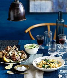 Australian Gourmet Traveller recipe for lamb cutlets with lemon, feta, and brown rice and spinach pilaf.