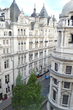 Embankment  - HarpersBAZAAR.com: Beautiful all-white architecture spotted from the Corinthia Hotel. In addition to being home to one of the city's best spas, this hotel has some of the best views over the Southbank.