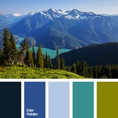 Juicy shades of pine forest in combination with clear-blue mountain lake are perfectly highlighted with dark blue of high mountain ranges. Emerald green of freedom and intense bright blue are a perfect combination for bathroom designs.