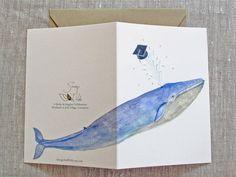 Blue Whale Graduation Card.