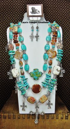 Triple Strand HOWLITE TURQUOISE / AGATE by CayaCowgirlCreations, $89.50