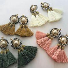 Handmade Jewelry: Real Cost and Reasons to Buy - Tiesy Tassel Earing, Tassel Jewelry, Fabric Jewelry, Wire Jewelry, Jewelry Crafts, Beaded Jewelry, Silk Thread Earrings, Thread Jewellery, Star Earrings