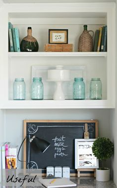 Merveilleux DIY Interior Decorating · Curious Details: One Shelf Three Ways To Decorate  Kitchen Bookshelf, Bookcase Styling, My