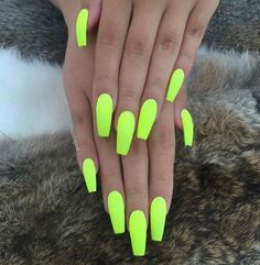 There are three kinds of fake nails which all come from the family of plastics. Acrylic nails are a liquid and powder mix. They are mixed in front of you and then they are brushed onto your nails and shaped. These nails are air dried. Neon Acrylic Nails, Neon Nail Polish, Neon Nails, Summer Nails Neon, Bright Nails Neon, Neon Yellow Nails, Nail Polishes, Bright Nails For Summer, Neon Nail Colors