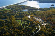 Aerial view of Ingonish Campground National Park Camping, National Parks, Parks Canada, Cape Breton, Nova Scotia, Aerial View, Honey, Moon, River