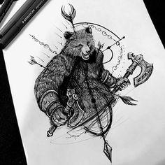 Baby Tattoos, Body Art Tattoos, Cool Tattoos, Tattoo Sketches, Tattoo Drawings, Berserker Tattoo, California Bear Tattoos, Animal Symbolism, Nordic Tattoo