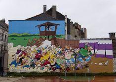 -rue de la Buanderie 33-Cette fresque, inaugurée en septembre 2005, nous montre les Gaulois du village d'Astérix assaillant le camp des Romains.
