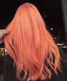 Neon blorange hair peach pink - h a i r - Peach Hair Colors, Hair Dye Colors, Pastel Orange Hair, Pink Peach Hair, Neon Hair Color, Blonde Color, Blorange Hair, Dye My Hair, Aesthetic Hair