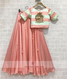 Baby pink raw silk lehenga with bird cage motif. Lehenga Choli Designs, Designer Party Wear Dresses, Indian Designer Outfits, Indian Wedding Outfits, Indian Outfits, Party Kleidung, Lehnga Dress, Indian Gowns Dresses, Party Wear Lehenga