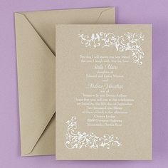 Delphinium - Invitation - Kraft This elegant, contemporary invitation features two lovebirds perched on an ivy vine. Kraft invitations are ideal for rustic elegant weddings.