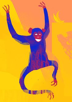 'Cheeky Monkey' by Tom Abbiss Smith. #collage #art #illustration #digital #monkey #creativereview #animal